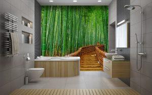Fotomural Vinilo Baño Bambu