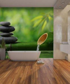 Fotomural Vinilo baño Spa Bambu Piedra