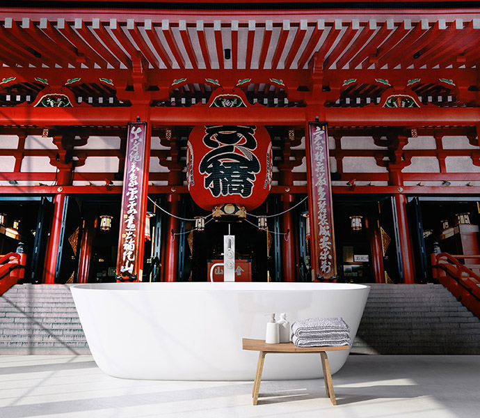 Fotomural Vinilo baño Japon