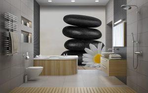Vinilo baño Spa Piedra Flor