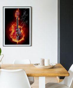 Lienzo Comedor Musica Rock Guitarra