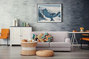 Lienzo Salon Montañas Nevadas