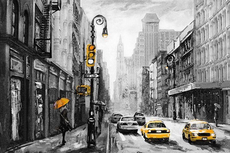 Lienzo Salon Oleo Nueva York Taxi